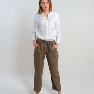 Лляні штани на резинці