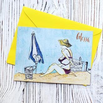 Листівка «Дама на пляжі»