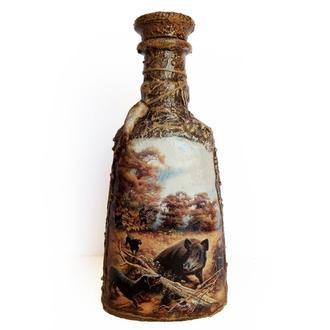Декор бутылки Охота на кабана Подарок мужчине охотнику Сувенир для охотников ручной работы