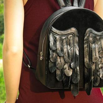 """Шкіряний рюкзак """"Black Wings"""""""
