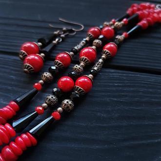 Комплект браслет та сережки з натуральними коралами браслет из кораллов украшения из коралла
