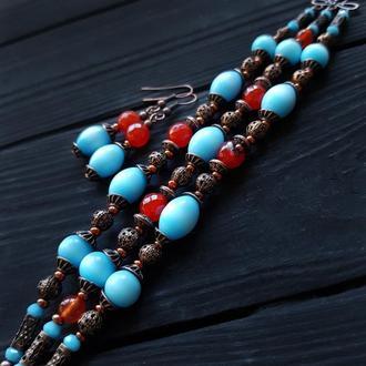 Комплект браслет та сережки з каменями та кристалами браслет с камнями браслет сердоликом украшения