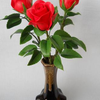 Букет красных роз из холодного фарфора. ручная Работа.