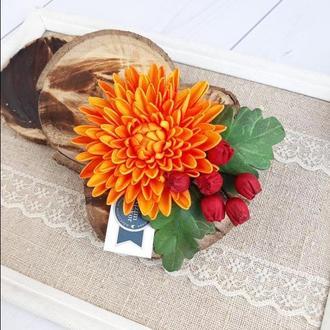 Заколка брошь осенние цветы, хризантема и рябина, Заколка для волос