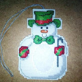 Снеговик.Новогодняя игрушка с местом для детского фото