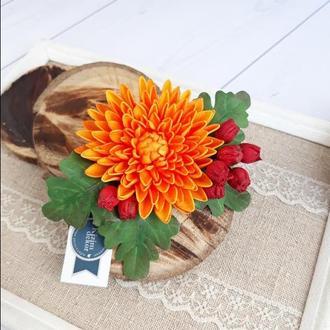 Заколка брошь хризантема, украшение для волос с осенними цветами