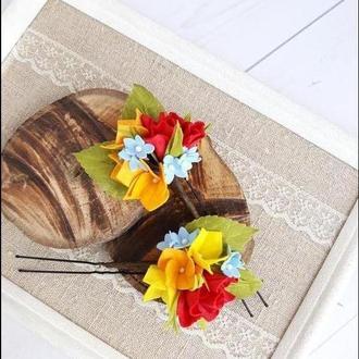 Шпильки для волос с цветами, украшение в прическу
