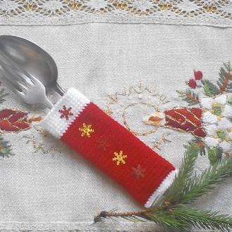 Чехол для столовых приборов набор 2 штуки,новогодний декор стола,праздничное новогоднее украшение