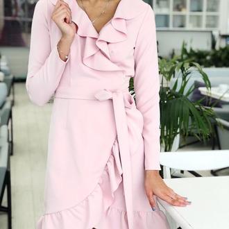 Платье на запах с оборкой. Легкая костюмная ткань.