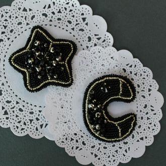 """Сет из двух брошей """"Луна и звезда"""""""