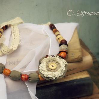 Текстильные бусы и брошь. Комплект в стиле бохо