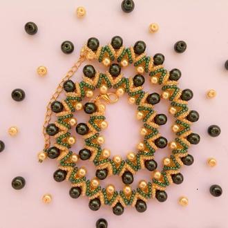 Колье, ожерелье желто-зеленое