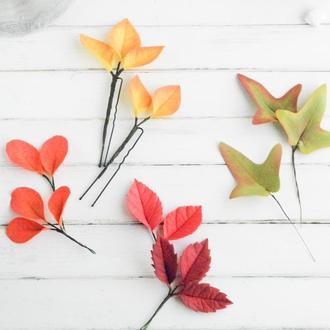 Шпильки с осенними листьями, Осенняя заколка для волос, Цветы в прическу невесте