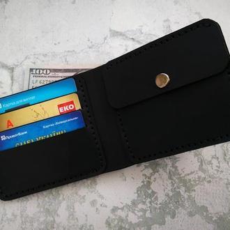 Мужское портмоне, кожаний кошелек, бумажник с отделом для монет на подарок для мужчин