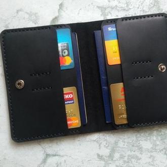 Холдер для документов,паспорта из натуральной кожи черный