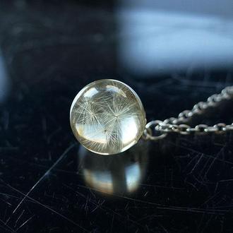 Кулон-сфера 15мм с семенами Одуванчика