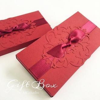 """Gift Box """"Napule"""" (бордовый) - открытка в коробочке"""
