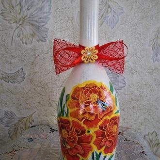 Бутылка-ваза декупаж