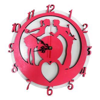 Настенные часы «Встреча» розово-белые