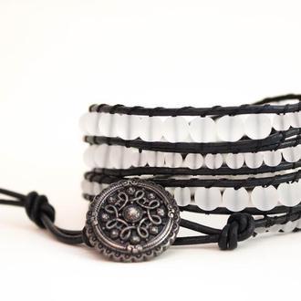 Спиральный браслет чан лу chan luu из бусин. имитация горного хрусталя