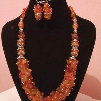 Бусы,браслет,серьги из натурального прибалтийского янтаря и бусин лемпворк