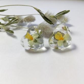 Сережки-гвоздики в форме сердечка с настоящими полевыми фиалками