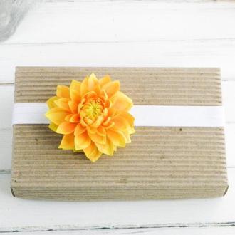 Повязка детская осенняя с цветком хризантемы, Ободок для малышки, Повязки с цветами для детей