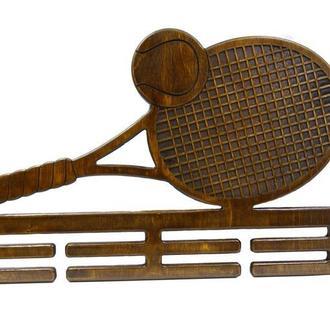 Деревянная настенная медальница для любителей тенниса