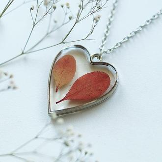 Кулон-сердце с осенними листиками