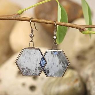 Серьги тиффани гексагоны прозрачно-голубые