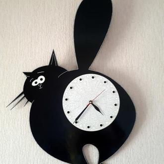 Большие настенные часы Кот ЖироБарсик точечная роспись