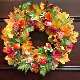 Декоративный интерьерный венок на дверь, стену, стол. Осенний декор, подарок.
