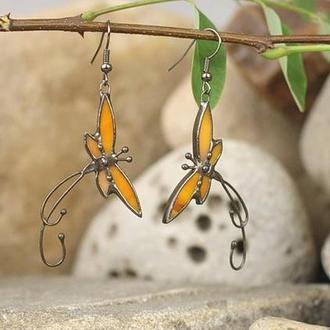 Серьги бабочки оранжевые