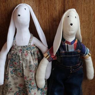 Заяцы пара тильда игрушка интерьерная для детей