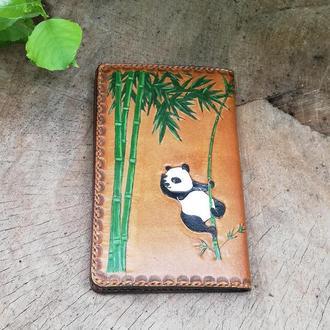Кошелек женский из натуральной кожи с тиснением и рисунком панда (портмоне)