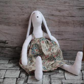 Заяц тильда игрушка интерьерная для детей - Зайка-крестьянка