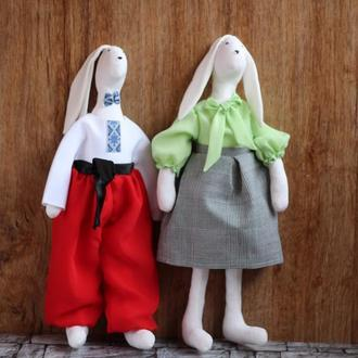 Зайцы-пара тильда игрушка интерьерная для детей - подарок на свадьбу