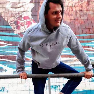 Худи с флисом с надписью «No regrets», унисекс