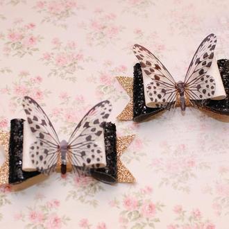 Стильные бантики из экокожи с бабочками