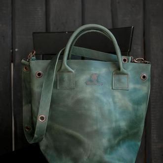 Шкіряна сумка, жіноча велика сумка, кожаная сумка ручной работы, сумка из кожи Крейзи Хорс
