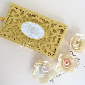 """Gift Box """"Afrodita"""" Цвет 11 (золото) - открытка в коробочке"""