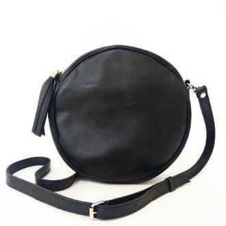 Стильная сумка с кисточкой (натуральная кожа)