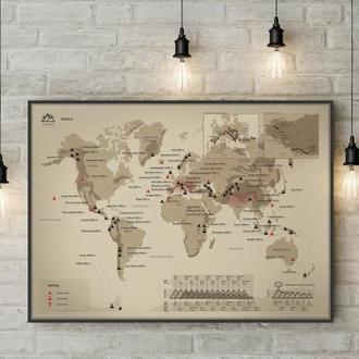 """Скретч Карта Горных Вершин """"WORLD"""" в раме"""