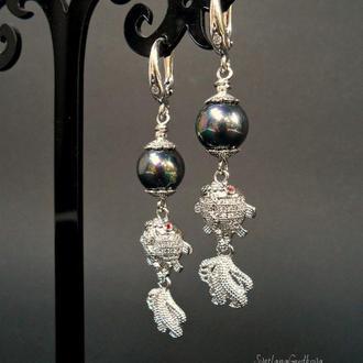 Серебряные серьги Три желания