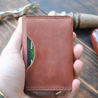 Кожаный кардхолдер - Органайзер для карт - Минималистичный кошелек