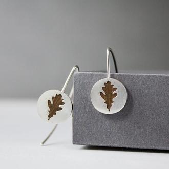 Серебряные серьги с Дубовыми листьями