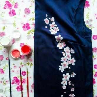 Блузка с ручной росписью Сакура
