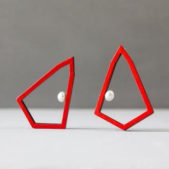 Геометричні червоні сережки