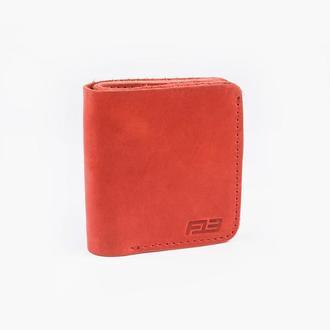 Кожаный кошелек красного цвеа