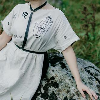 """Платье льняное с """"татуировками"""""""